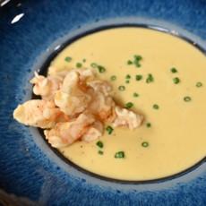 Тыквенный суп с попкорном из креветок