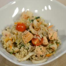 Ризотто из бурого риса с морепродуктами