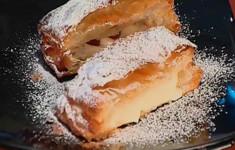 """Торт """"Наполеон"""" с заварным кремом с малиной"""