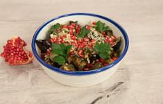 Салат из курицы с печёными баклажанами