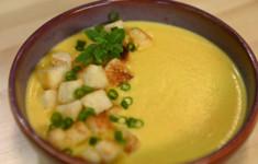 Сырный суп с печеным перцем
