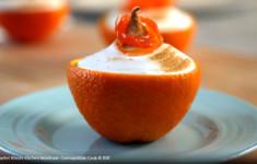 Апельсины с желе и засахаренными морковными полосками